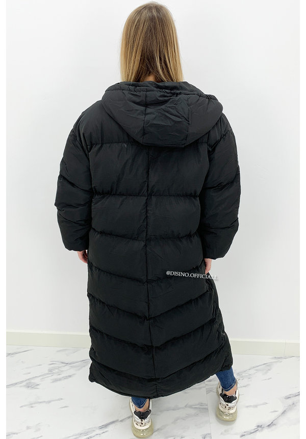 BLACK - 'DANI' - OVERSIZED LONGLINE PUFFER COAT WITH CAPUCHON