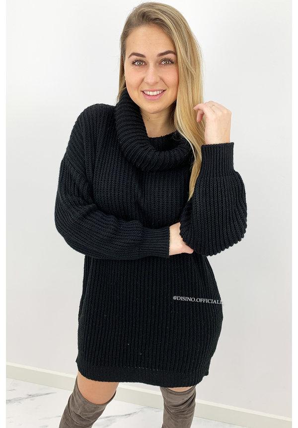 BLACK - 'NADINE' - OVERSIZED PREMIUM KNIT COL DRESS
