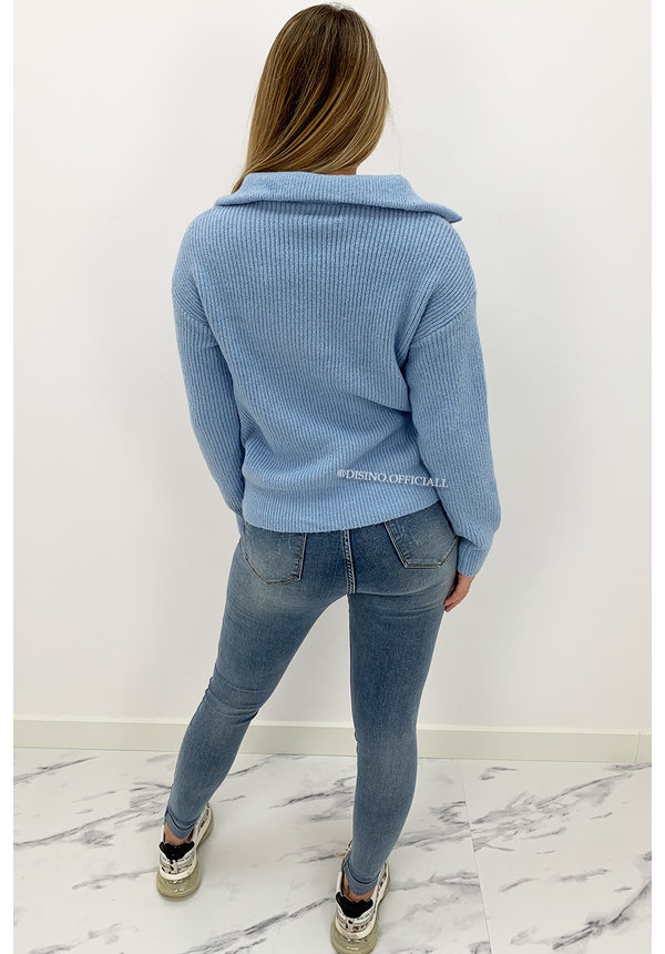 BLUE - 'LUCY' - PREMIUM QUALITY SPORTY & COMFY ZIPPER KNIT