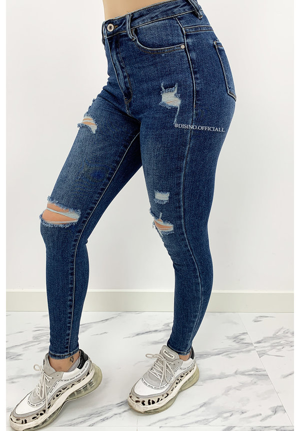 LAULIA - MEDIUM BLUE - SUPER HIGH WAIST RIPPED SKINNY JEANS - 024