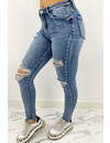 QUEEN HEARTS JEANS - WASHED BLUE - RIPPED SKINNY HIGH WAIST - 890