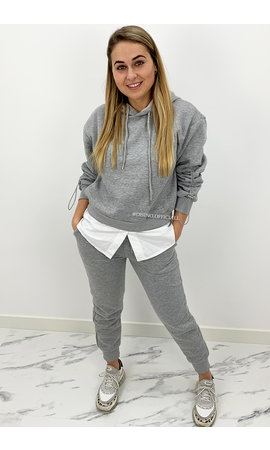 GREY - 'MAYA SET' - TWO PIECE JOGGER SET WITH BLOUSE DETAIL