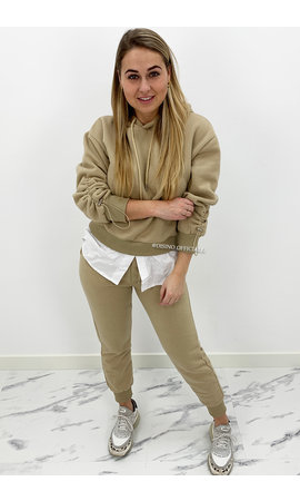 BEIGE - 'MAYA SET' - TWO PIECE JOGGER SET WITH BLOUSE DETAIL