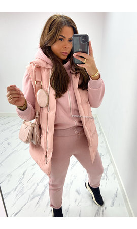 SOFT PINK - 'NORTH' - BODYWARMER 3 PIECE JOGGER SET