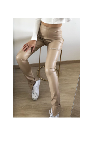 NUDE - 'LEATHER NOELLE' - HIGH WAIST VEGAN LEATHER SIDE SPLIT PANTS