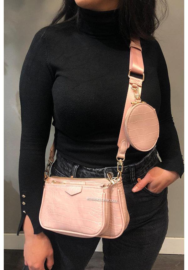 PINK - CROCO DOUBLE BAG