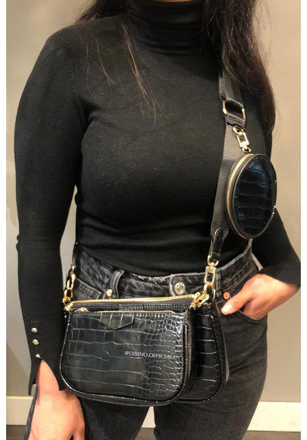 BLACK - CROCO DOUBLE BAG