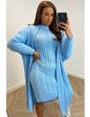 LIGHT BLUE - 'TYARA SHORT SLEEVE' - OVERSIZED KNITTED DRESS + VEST