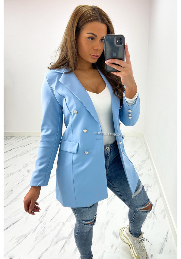 LIGHT BLUE - 'KIMMY' - PERFECT BUTTON BLAZER