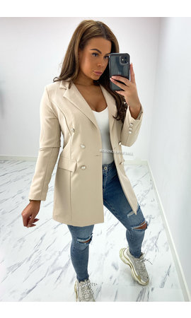 BEIGE - 'KIMMY' - PERFECT BUTTON BLAZER