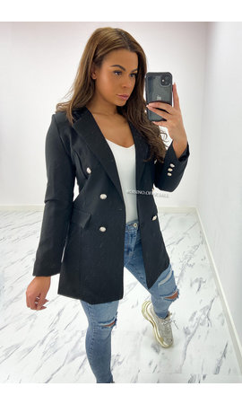 BLACK - 'KIMMY' - PERFECT BUTTON BLAZER