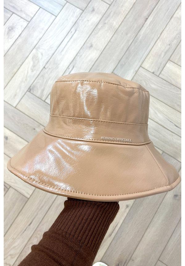 BEIGE - 'FISHERMAN HAT' - VINYL LOOK BUCKET HAT