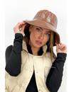 BROWN - 'FISHERMAN HAT' - VINYL LOOK BUCKET HAT