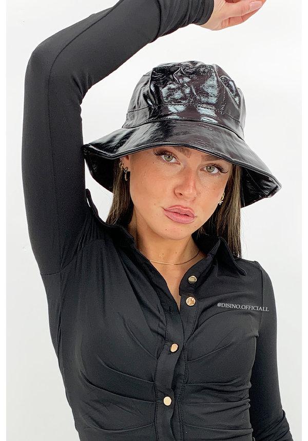 BLACK - 'FISHERMAN HAT' - VINYL LOOK BUCKET HAT
