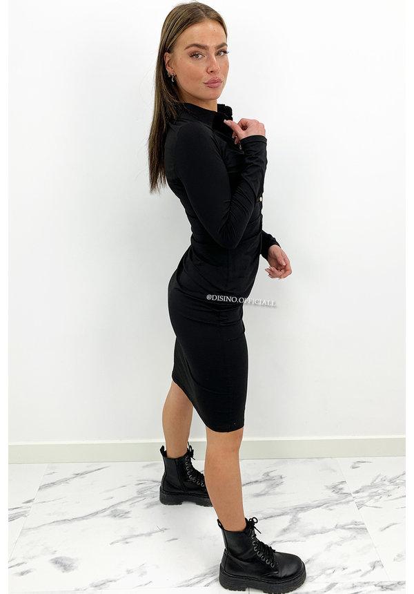 BLACK - 'KOURTNEY V2' - PERFECT FIT RUCHED BLOUSE DRESS