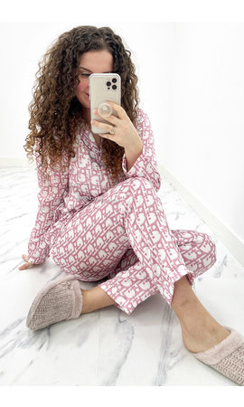 WHITE PINK - 'DIOR PJ' - SATIN FEEL INSPIRED NIGHTWEAR
