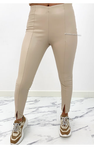 BEIGE - 'ZENIA' - VEGAN LEATHER FRONT SPLIT LEGGIN PANTS