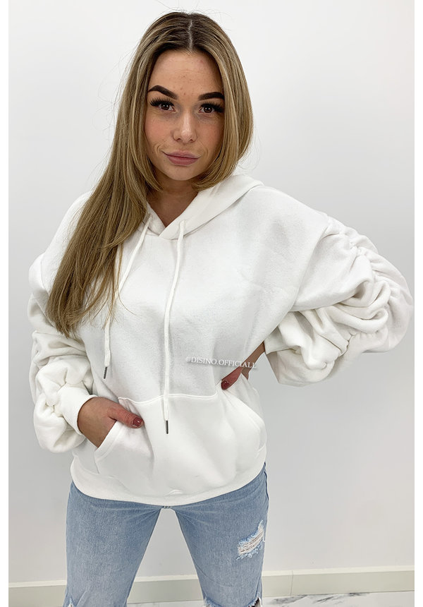 WHITE - 'DONNA' - PREMIUM QUALITY RUCHED SLEEVE HOODIE