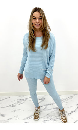LIGHT BLUE - 'ANGELA' - RIBBED COMFY SET