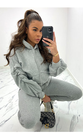 GREY - 'DONNA JOGGER SET' - RUCHED SLEEVE HOODIE + JOGGER PANTS