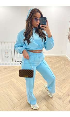 BLUE - 'KENZI' - PREMIUM QUALITY CAPUCHON WIDE LEG TWO PIECE SET
