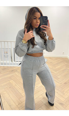 GREY - 'KENZI' - PREMIUM QUALITY CAPUCHON WIDE LEG TWO PIECE SET