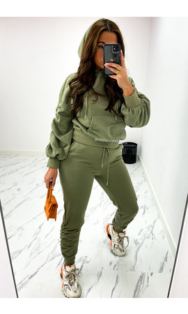 KHAKI GREEN - 'DONNA JOGGER SET' - RUCHED SLEEVE HOODIE + JOGGER PANTS