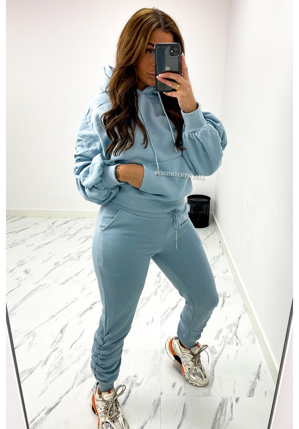 JEANS BLUE - 'DONNA JOGGER SET' - RUCHED SLEEVE HOODIE + JOGGER PANTS