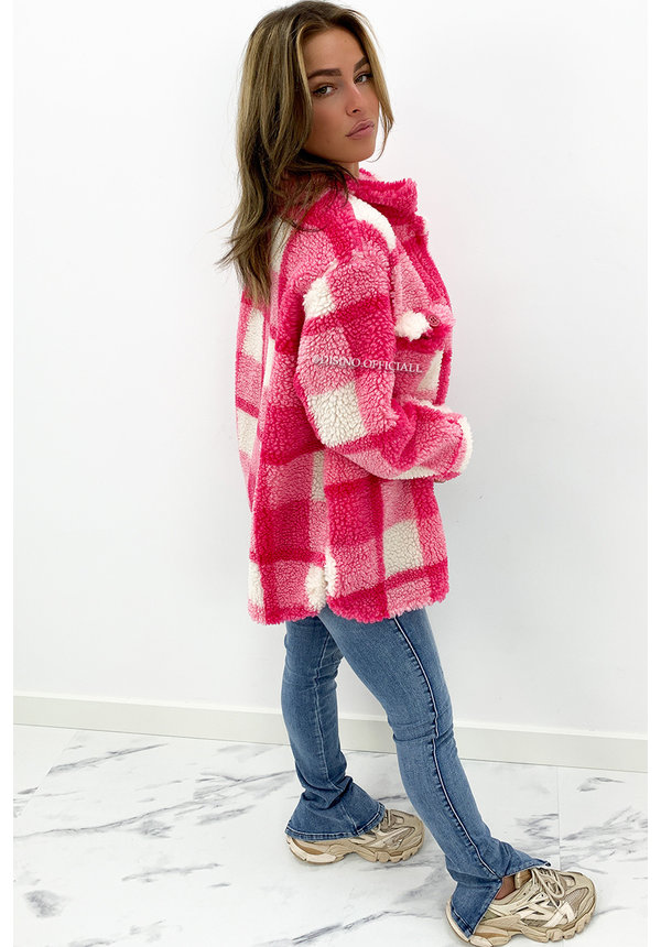 CANDY PINK - 'JULIA' - COZY CHECKED TEDDY JACK
