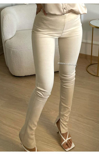 BEIGE - 'SUEDINE NOELLE' - SIDE SPLIT PANTS