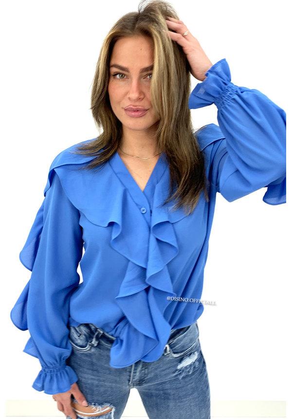 BLUE - 'KARIN' - ALL OVER RUFFLE BLOUSE