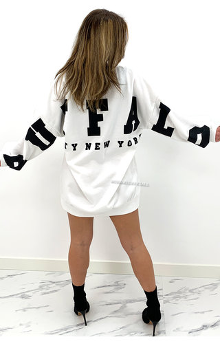 WHITE - 'BUFFALO SWEATER' - INSPIRED OVERSIZED SWEATER