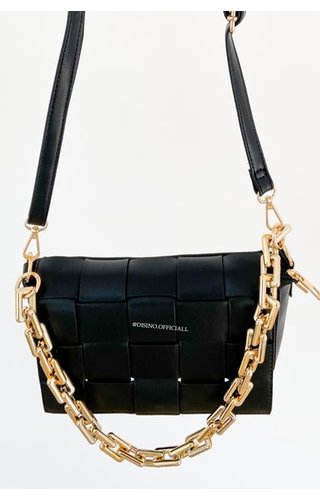 BLACK - 'CASSETTE BAG' - INSPIRED BAG WITH CHAIN