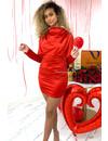 RED - 'TESS' - SATIN DROP LONG SLEEVE DRESS