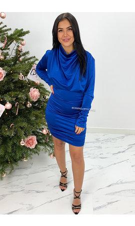 ROYAL BLUE - 'TESS' - SATIN DROP LONG SLEEVE DRESS