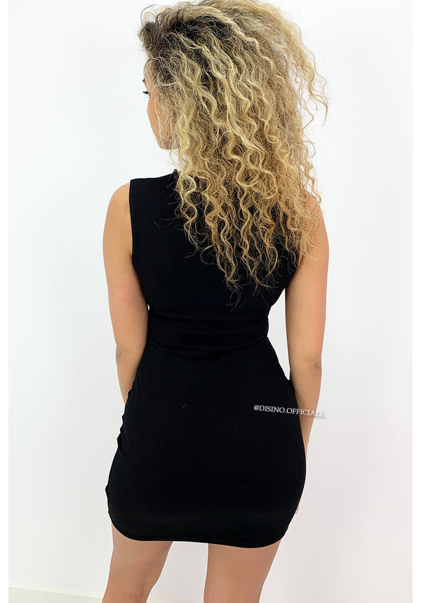 BLACK - 'KIRA DRESS' - RUCHED BODYCON DRESS