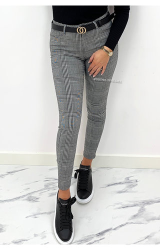 GREY - 'SIERRA 2.0' - CHECKERED SUPER STRETCH TREGGING PANTS