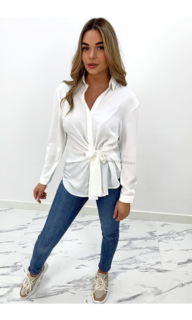 WHITE - 'EMMIE' - PREMIUM QUALITY KNOTTED BLOUSE