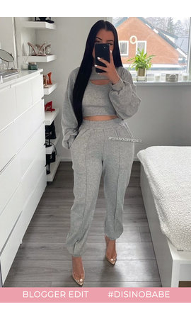 GREY - 'PAIGE 3PIECE SET' - CROPPED 3 PIECE JOGGER SET