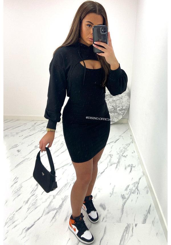 BLACK - 'JANNET' - CUT OUT SWEATER + DRESS