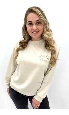 BEIGE - 'DOR GIRL' - SOFT EMBROIDED SWEATER