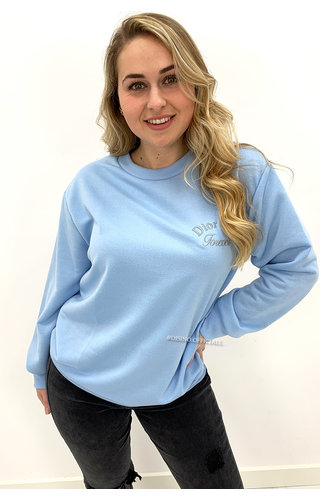 LIGHT BLUE - 'DOR GIRL' - SOFT EMBROIDED SWEATER