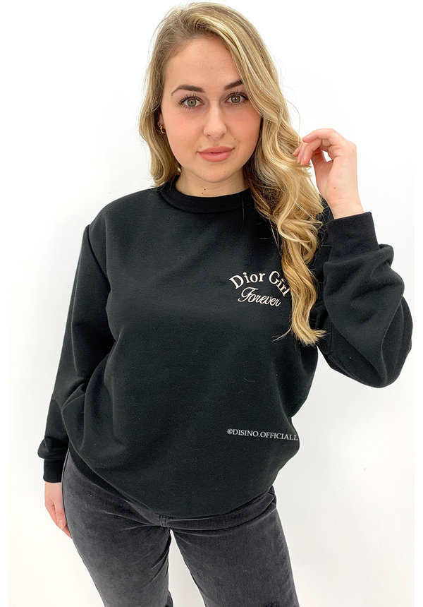 BLACK - 'DOR GIRL' - SOFT EMBROIDED SWEATER