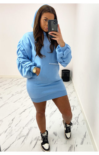 LIGHT BLUE - 'DONNA DRESS' - PREMIUM QUALITY HOODIE DRESS