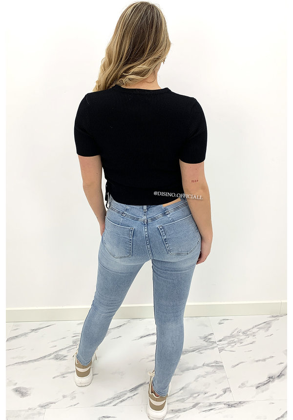 BLACK - 'MARGIE' - RIBBED RUCHED TOP