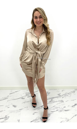 BEIGE - 'CLAIRE' - SILKY KNOT BLOUSE DRESS