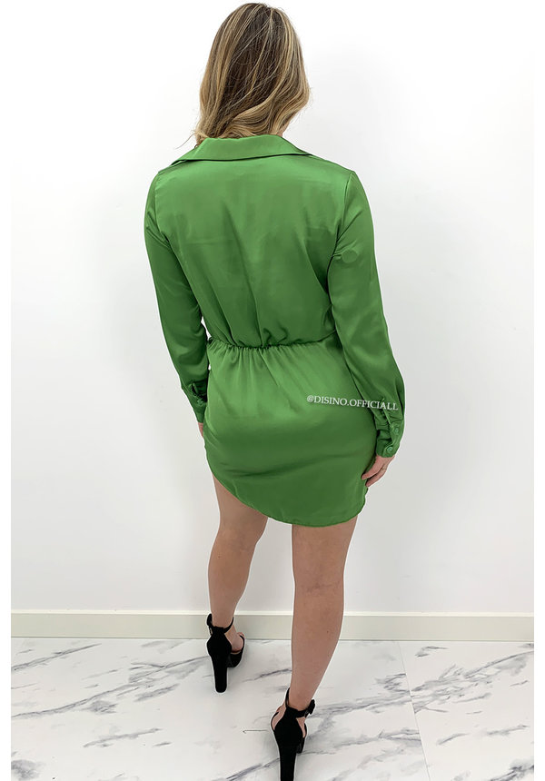 GREEN - 'CLAIRE' - SILKY KNOT BLOUSE DRESS