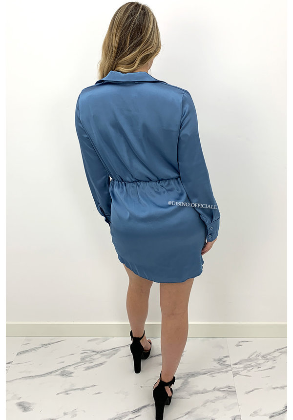BLUE - 'CLAIRE' - SILKY KNOT BLOUSE DRESS