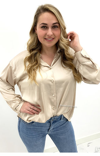 BEIGE - 'DIANE' - SATIN BASIC BLOUSE