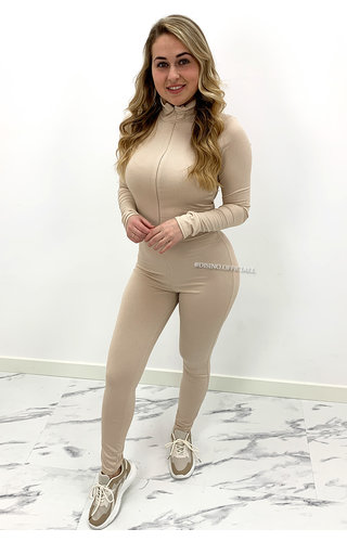 BEIGE - 'TYRA JUMPSUIT' - RIBBED ZIPPER JUMPSUIT